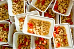 Beans seasoned with salt, oil and cherry tomatoes Stock Photo