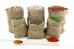 Beans and seasonings. Stock Photos