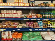 Beans on shelves. Variety of beans on shelves in the supermarket Royalty Free Stock Photos