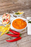 Beans Soup With Crostini And Chili Peppers Royalty Free Stock Image