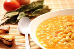 Beans soup  and laurel Royalty Free Stock Image