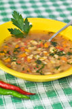 Beans soup with parsley leaf and peppers Royalty Free Stock Photos