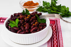 Beans, spices and curry in white salad bowl Royalty Free Stock Photography