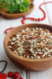 Beans and spices mix. With fresh parsley Royalty Free Stock Image