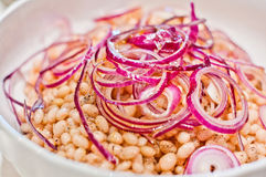 Beans steamed topped with raw onion and extra virgin olive oil. Plate of steamed beans topped with raw onion, olive oil, salt and pepper Stock Photo