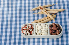 Beans on three piece plate on plaid background Stock Image
