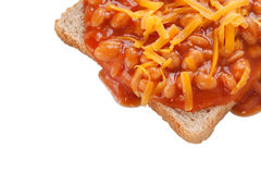 Beans on Toast. With Cheese Isolated on White Background royalty free stock photography