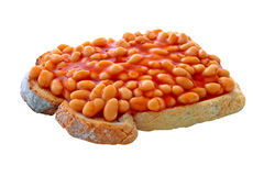 Beans on Toast. On an isolated white background with a clipping path Stock Image
