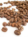 Beans of toasted coffee. On a white background stock photography