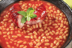 Beans in tomato sauce and sausage Stock Image