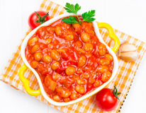 Beans with vegetables in tomato sauce Stock Image