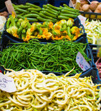 beans and zucchini on the market Royalty Free Stock Photo