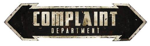 Beanstandungs-Abteilungs-Zeichen stockbild