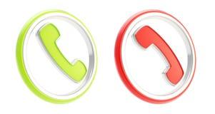 Beantworten Sie Aufruf und hängen Sie oben runde Ikonenembleme des Telefons vektor abbildung
