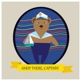 Bear -与逗人喜爱的熊的例证上尉在蓝色裤子 免版税图库摄影
