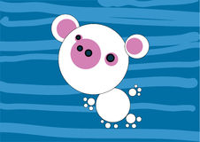 Bear. Small polar bear on blue background. Can be used as a birthday card Stock Photography