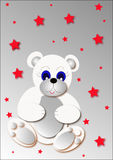 Bear. White bear and red star for christmas illustration Royalty Free Stock Photography