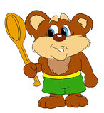 Bear. Little bear with a spoon royalty free illustration