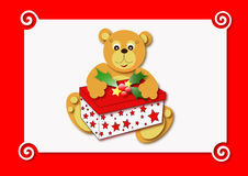Bear. And christmas gift box Stock Photo