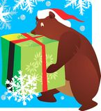 Bear. With a hat carrying a huge gift tied with red ribbon Royalty Free Stock Image