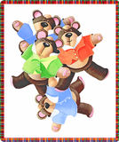 Bear. Four colored bears nearby and smiling Stock Image