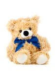 Bear. Teddy Bear toy with blue bow isolated over white Royalty Free Stock Photos