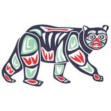 Bear on aboriginal tribe cartoon Royalty Free Stock Image