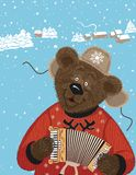 Bear with accordion Royalty Free Stock Images