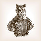 Bear with accordion sketch vector illustration Royalty Free Stock Photo