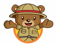 Bear adventurer logo Stock Photos