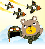 Bear the air force troops. Vector cartoon of bear army with jets squadron. EPS 10 Stock Images