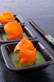 Bear allium with smoking salmon Royalty Free Stock Photos