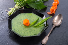 Bear allium soup with smoking salmon Royalty Free Stock Images
