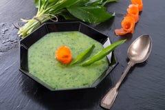 Bear allium soup with smoking salmon Royalty Free Stock Images