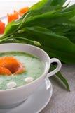 Bear allium soup with smoking salmon Stock Photo