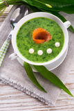 Bear allium soup with smoking salmon Royalty Free Stock Image
