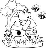 Bear and angry bees Stock Photography