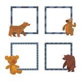 Bear animal vector frames mammal teddy grizzly funny happy cartoon predator cute character illustration. Cute bear wildlife animal grizzly predator teddy royalty free illustration