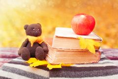 Bear, apple and books on a bench Royalty Free Stock Images