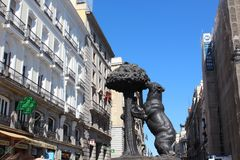 Bear and arbutus. Monument of the Bear and Arbutus. They are the symbol of the city of Madrid, Spain. The monument is at the Puerta del Sol in the center of Royalty Free Stock Photos