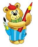 Bear artist takes a bow pencil cartoon Stock Photo