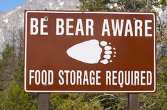 Bear aware sign. Be Bear Aware - food storage required sign royalty free stock photography