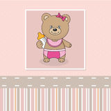 Bear with baby bottle royalty free illustration