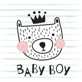 Bear baby boy. Vector illustration cute and simple bear in scandinavian style on background with a texture and baby boy text stock illustration