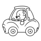 Bear baby car coloring pages Royalty Free Stock Photography