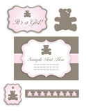 Bear Baby Girl Shower Set of Icons and Tags. A cute baby shower set for a baby boy with a bear and an umbrella Stock Photo