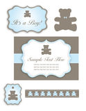 Bear Baby Shower Set of Icons and Tags. A cute baby shower set for a baby boy with a bear and an umbrella Royalty Free Stock Image