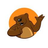Bear on the background of the orange circle Royalty Free Stock Image