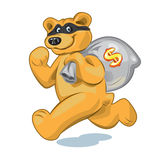 Bear with a bag of money. Bear in a mask who runs away with a big bag of money Stock Photo