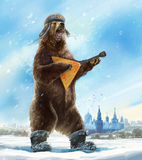 Bear with balalaika. Royalty Free Stock Images